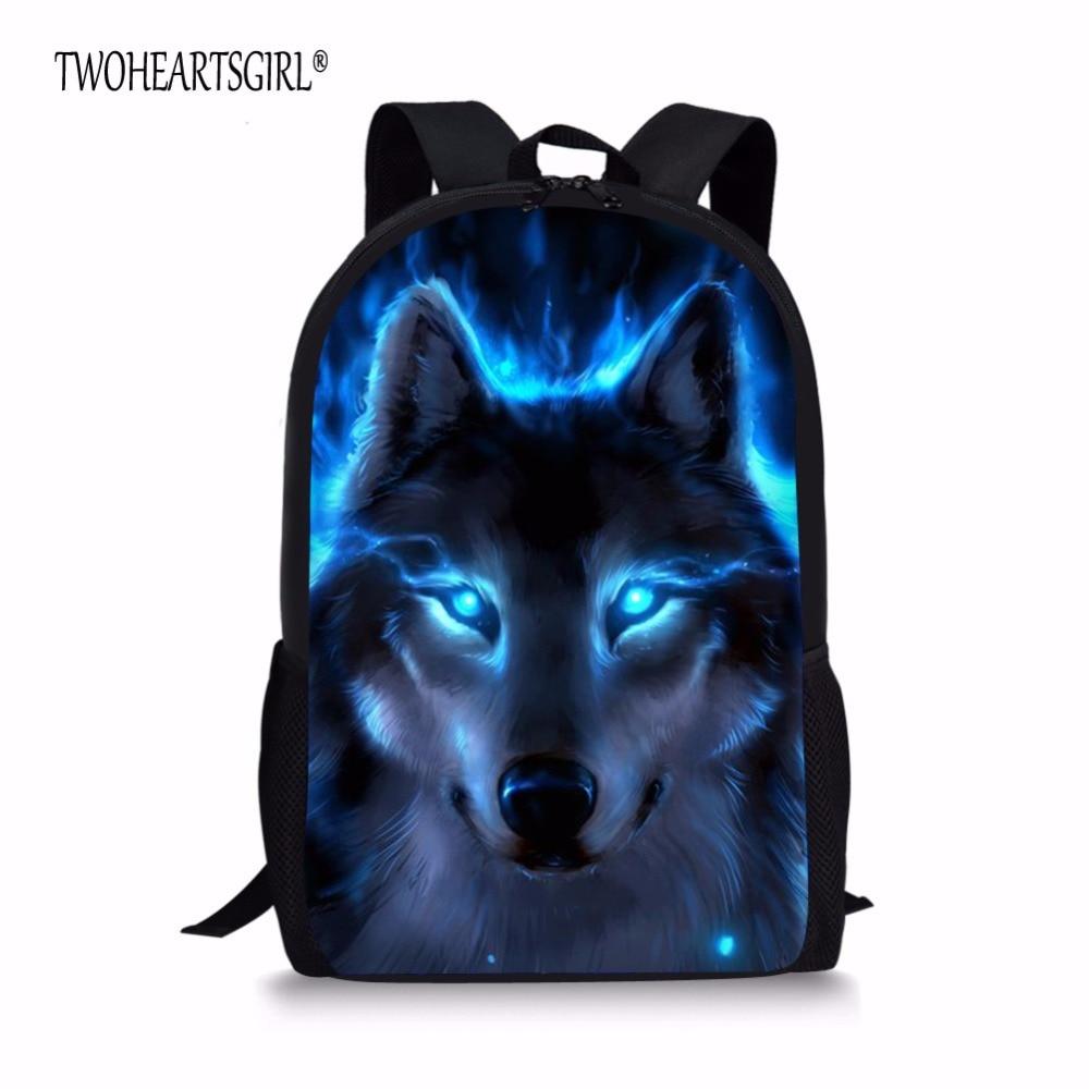 TWOHEARTSGIRL Wolf Print Schoolbags for Children Cool Student Kids Bookbags mochila infantil Animal Teenager Girls School Bag поло print bar black wolf