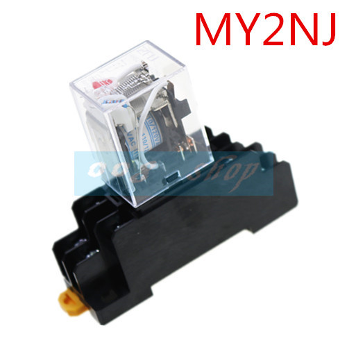 1set MY2P HH52P MY2NJ relay 220V AC coil high quality general purpose DPDT micro mini relay with socket base holder T ...