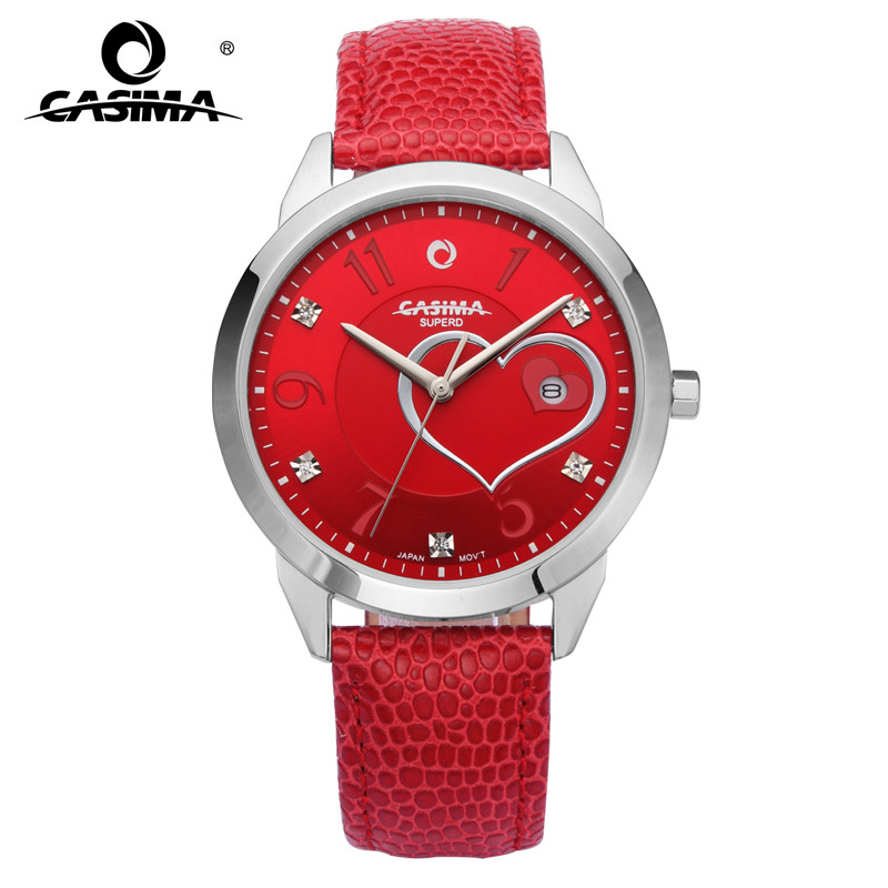CASIMA luxury brand watches women fashion beauty crystal table casual female quartz wrist watch leather band waterproof 2601