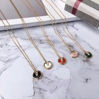 Famous brand jewelry Amulette Pendant Necklace 925 Sterling Silver mother shell round disc spell amulet Necklace for women girls