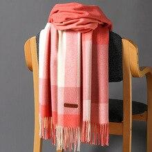 Korean New Winter cashere scarf For women Classic plaid thick warm shawls tassle pashmina russian shawl ladies scarves