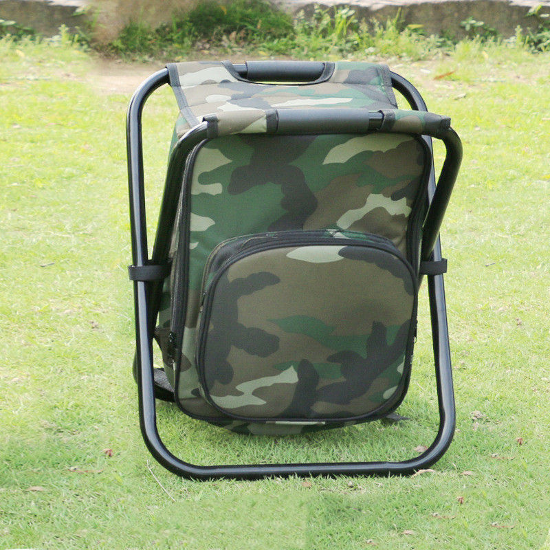 Foldable Outdoor Fishing Bag with Chairs Multifunctional 600D PVC Oxford Fishing Cool Bag Chairs Backpack Fishing Bag 36x31x44CM