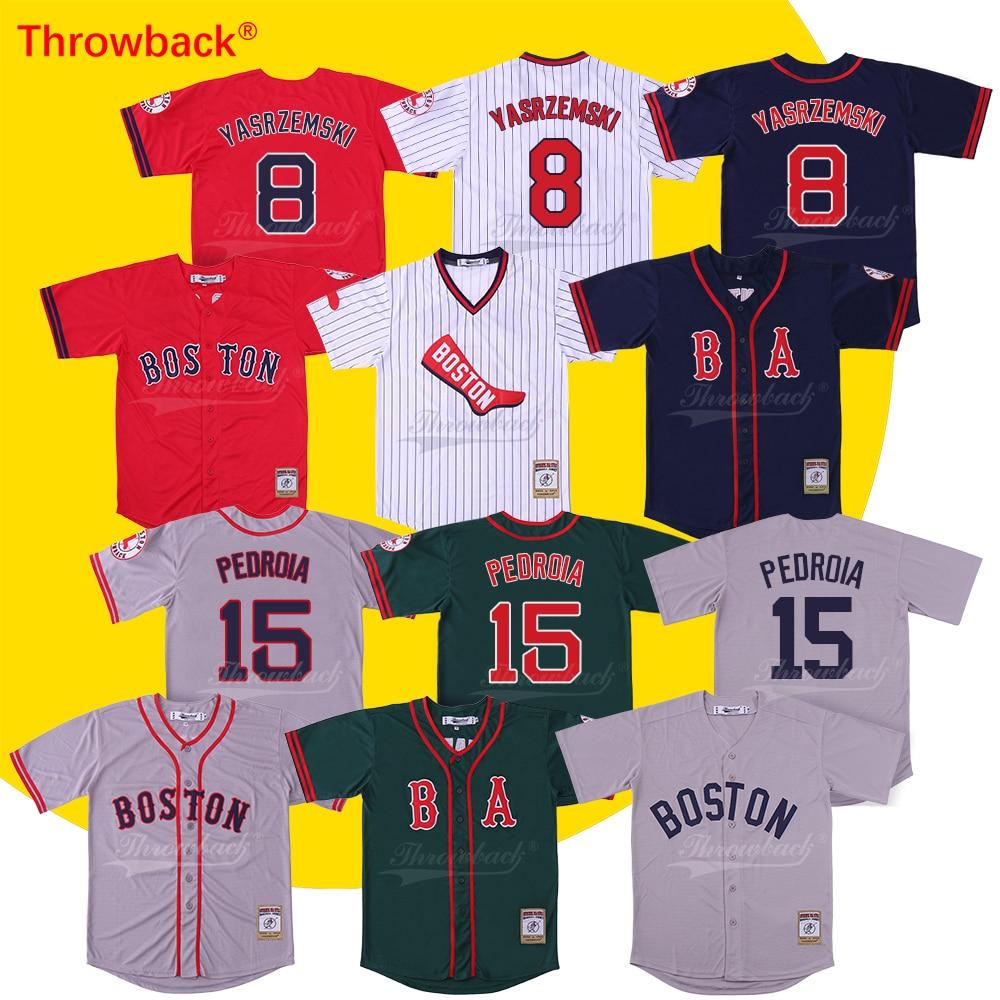 Throwback Jersey Men's Boston Jersey 15 Dustin Pedroia 34 David Ortiz Jersey Baseball Jersey Free shipping baseball jersey 52 baez pedro baez jersey