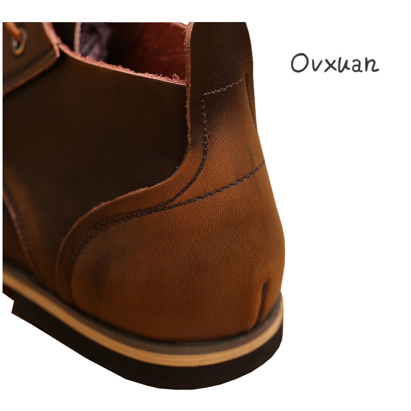 Повседневные модные кожаные ботинки с белым воротником - 5