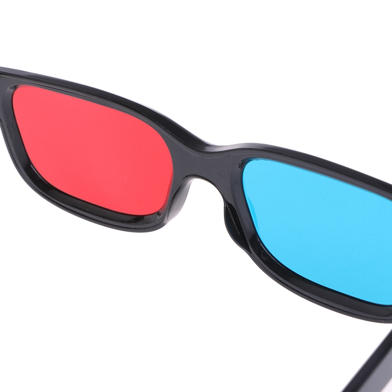 Othmro Red-Blue 3D Glasses Black Plastic Frame Resin Lens Simple Style 3D Movie Game Red-Cyan Anaglyph 3Pcs