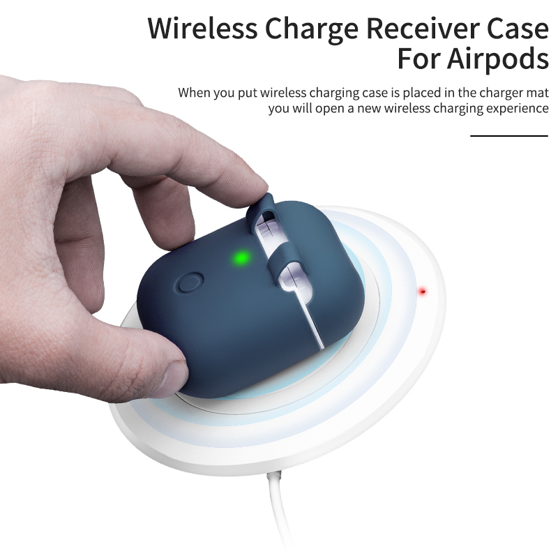 For Airpod QI Wireless Charger Case Charging Receiver Cover Shockproof Protective Silicone Charging box For AirPods apple