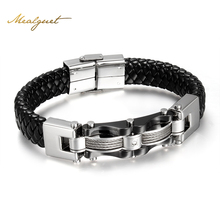 MeaeguetCool Men Black Leather Bracelet High Quality Stainless Steel Men Bracelets & Bangles With Textured Band Design