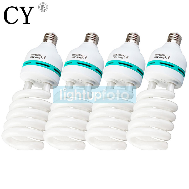 65w Studio Daylight fluorescent Bulb for Photo 5500K 110v x 4 Studio Photography Light PSLB2A4 free shipping