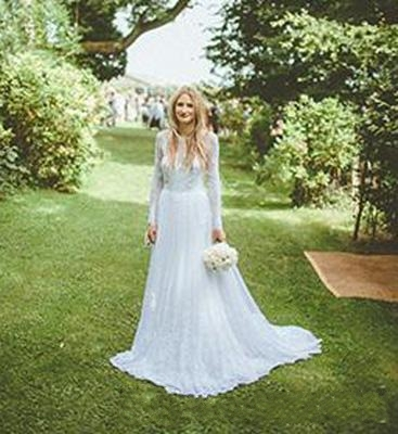 2016 Outdoor Y Wedding Dresses Backless Long Sleeves Lace Liques Sheer Garden Bridal Gowns Plus Size Custom Made W110904 In From