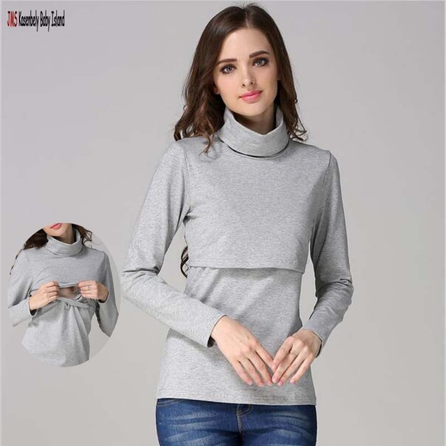 c354fa03b8799 JMS Kasenbely Solid Turtleneck Long Sleeve Maternity clothes Breastfeeding  Tops Nursing Top for Pregnant Women Maternity T-shirt