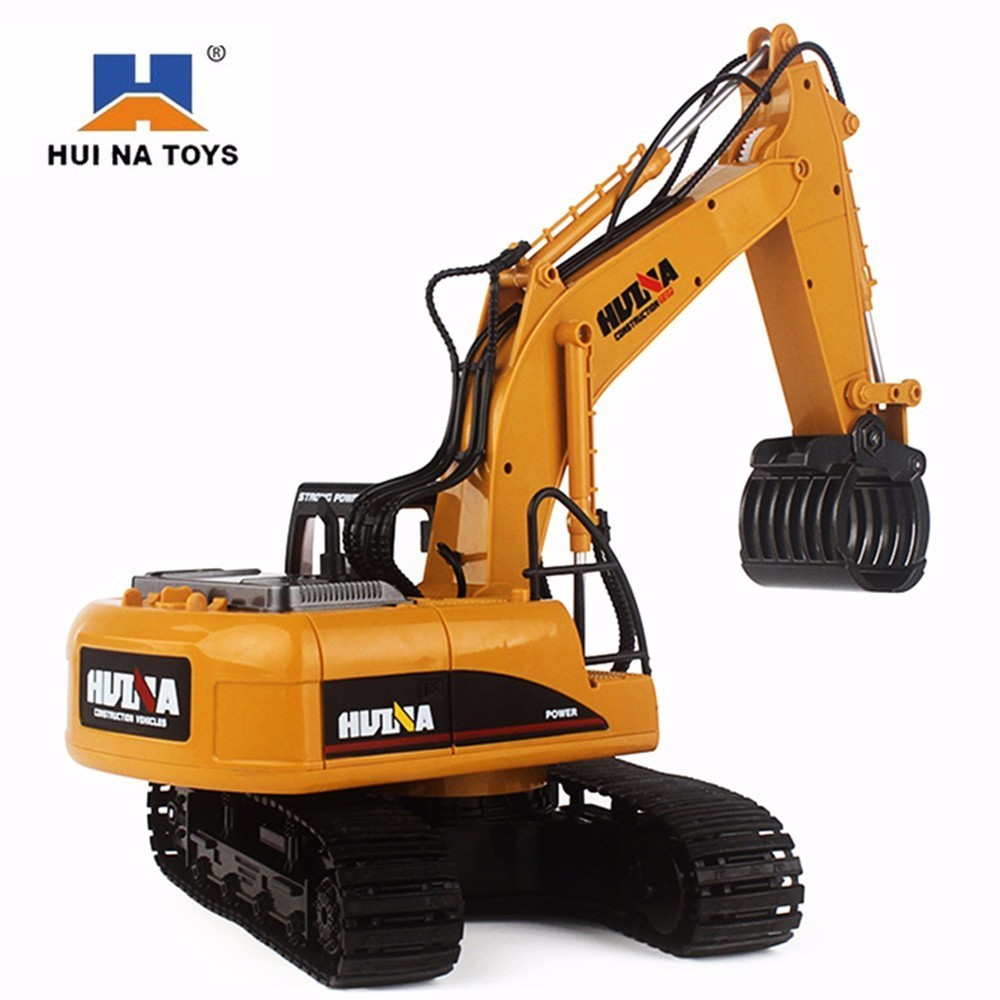 HuiNa 1570 RC Car 2.4G 1:14 RC Excavator 16 Channels Metal Charging RC Car Model Toys Grabbing Machine Auto Demonstration Cars