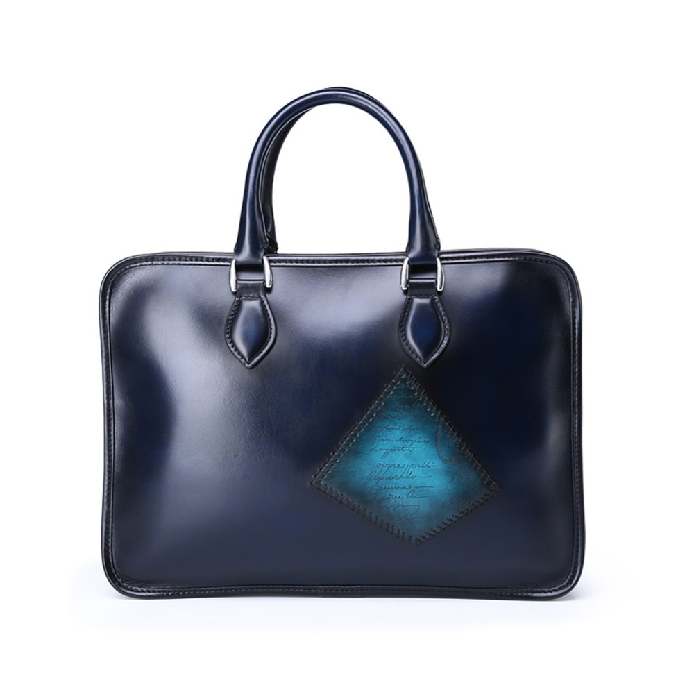TERSE_Mens luxury patch briefcase handmade leather tote bag blue color commute bag for mans custom logo service real leather bag
