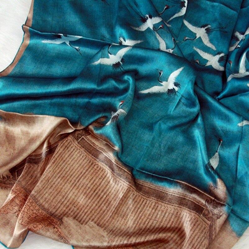 110*110 cm surdimensionné carré foulard en soie de haute qualité 100% vraie soie chanson Huizong Ruihe carte châles femmes Bandana tête Hijab foulards