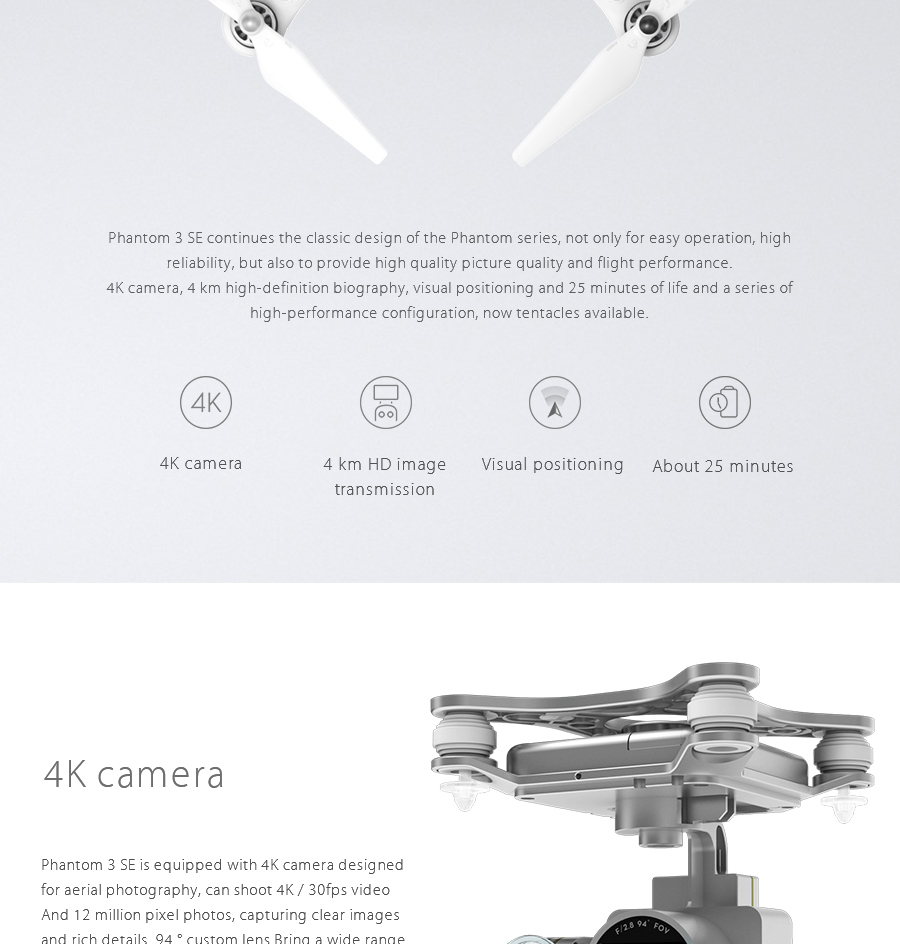 DJI Phantom 3 SE Drone With 4K HD Camera Gimbal RC Helicopter FPV Drone quadcopter DJI dron 4k camera 3-Axis Gimbal GPS Drone