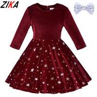 ZIKA אפליקציות קטיפה זהב נצנצים ילדי בנות ילדי בגדי מסיבת נסיכת החתונה שמלת כוכב סתיו החורף חם גודל 3-8 T