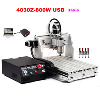 3 axis cnc router 4030Z 800W Mach3 software with USB port for aluminum stone metal cutting