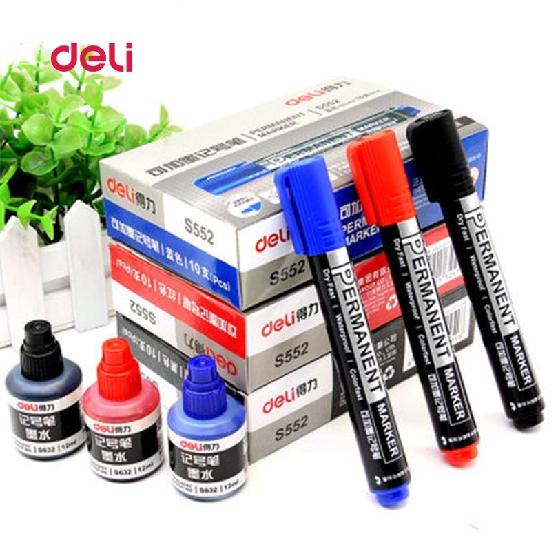 Deli Sketch Marker Pen Set Logistics Supplies Mark Alcohol Marker Pen Permanent Pen Cartoon Graffiti Markers Ink Refilling