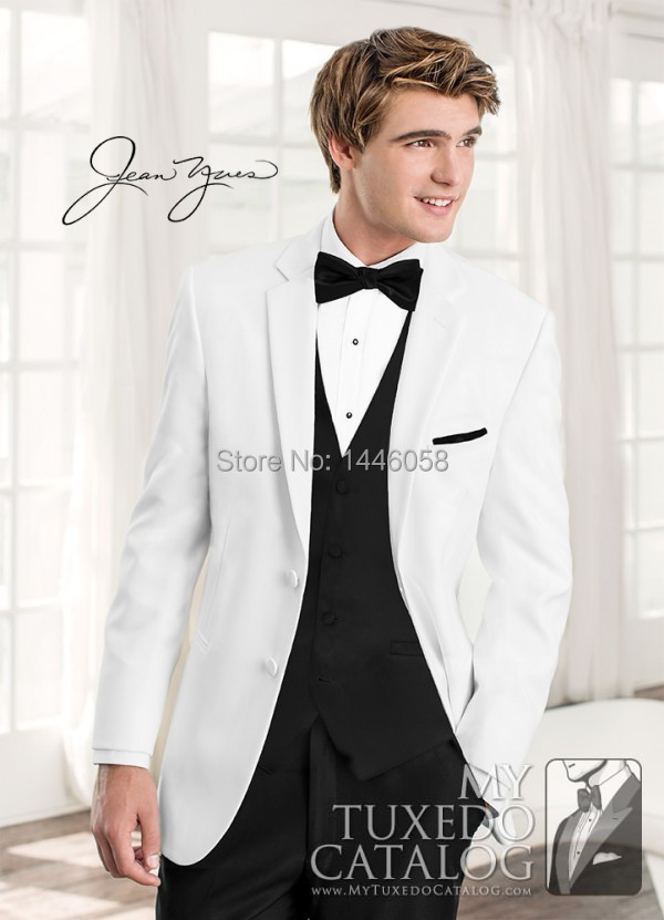 White Wedding Suits For Men 2018 New Design Two Buttons Groom Tuxedos Men Wedding Suits Bridegroom (Jacket+Pants+Vest+Bow)
