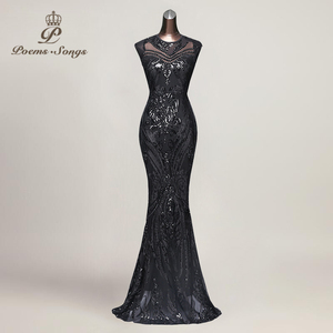 Image 4 - Poems Songs New Hot sale Mermaid Evening Dress prom gowns Party dress vestido de festa Sexy Backless Luxury Sequin robe longue