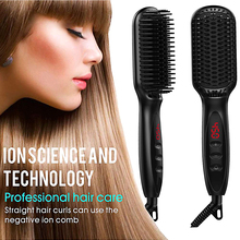 Quick Hair Straightener Brush Styling Tools Ceramic Heating Hair Hot Comb Straightener Temperature Display Anti-Scald Effective