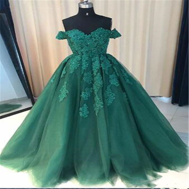 New Arrival A-Line Prom Dresses Off the Shoulder Green Lace Applique Prom Gowns Formal Women Evening Dresses Real Pictures