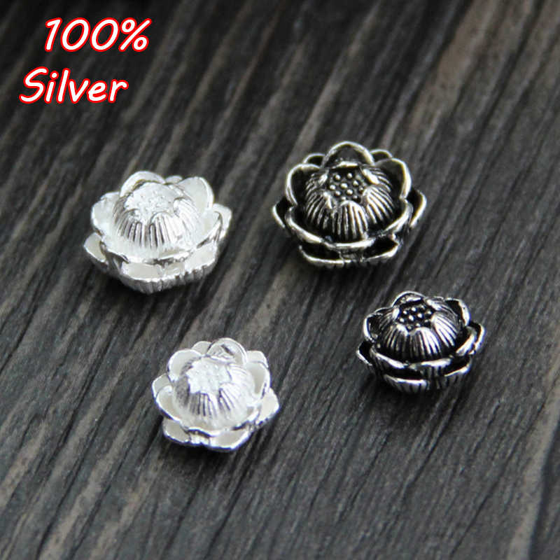 Authentic 925 Silver Charm Beads New Lotus Flower Bead Fit Colar Pulseira Presente Da Jóia Para A Mulher