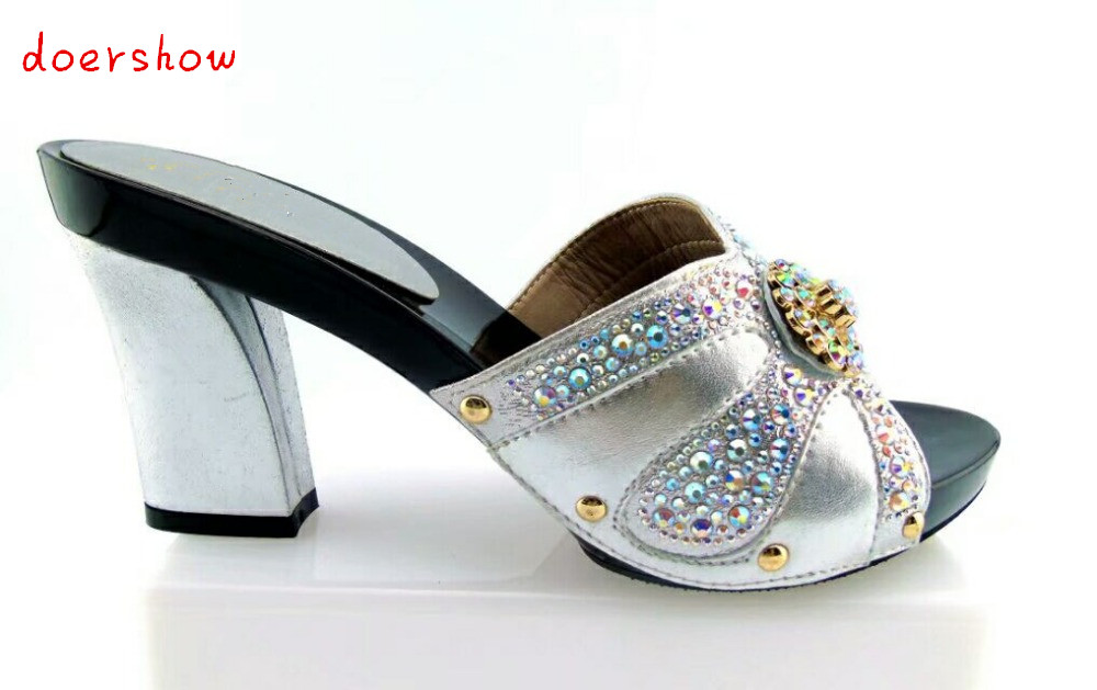 doershow design lady sandal with crystal for party fashionable Italian Shoes high quality African lady high heel shoes !HTX1-13 doershow african shoes and bags fashion italian matching shoes and bag set nigerian high heels for wedding dress puw1 19