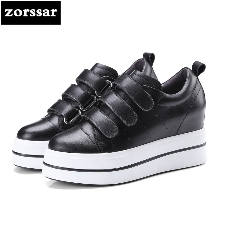 {Zorssar} 2018 New Fashion Genuine Cow Leather Leisure lace up flat shoes Women sneakers platform Casual Flats Loafers 2018 new arrivals women flats shoes fashion bling women flats platform loafers lace up women casual shoes black