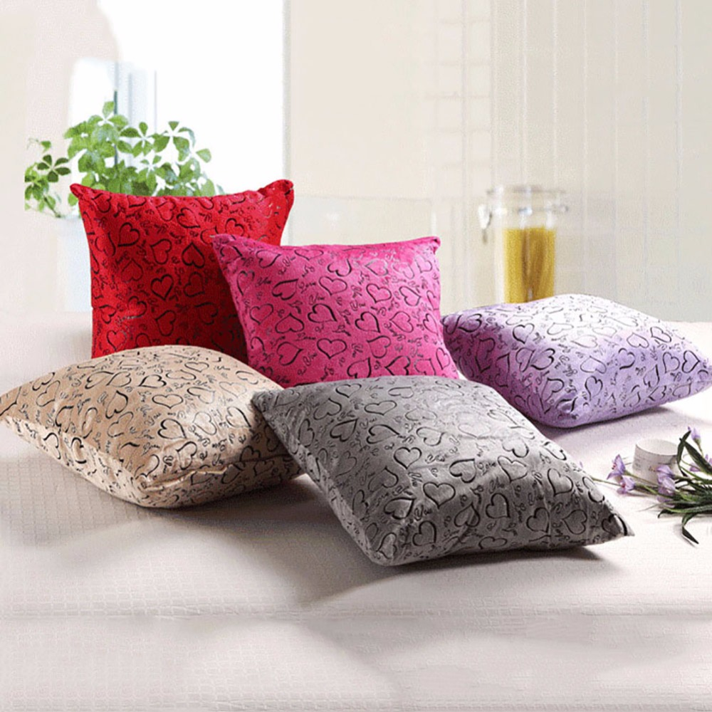 Newest Heart Pattern Pillow Case Bedroom Turn Tender Plush Pillow Home Office In Pillow Case