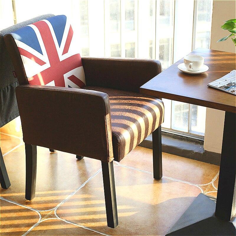 16% Retro Restaurant Esszimmer Stuhl Hohe Qualität Leinen Tuch/pu Büro Armlehne Sofa Massivholz Stuhl Mit Komfort Schwamm Kissen Home