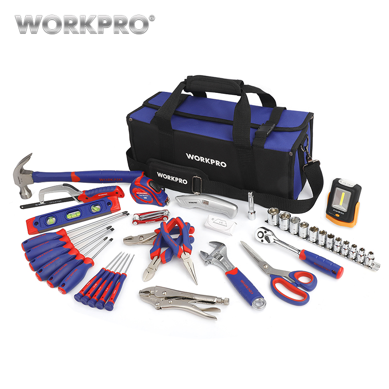 WORKPRO 54 Piece Household Tool Set Pliers wrench Hammer Saw Screwdriver Sockets Set Hex Key Tape Level Work Light 55pcs hand tool set kit household tool kit saw screwdriver hammer tape measure wrench plier