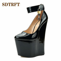 SDTRFT Fashion Stilettos 22cm High Heeled sexy Metal lock Ankle Strap pumps women platform wedding wedges shoes Plus:40 46 47 48