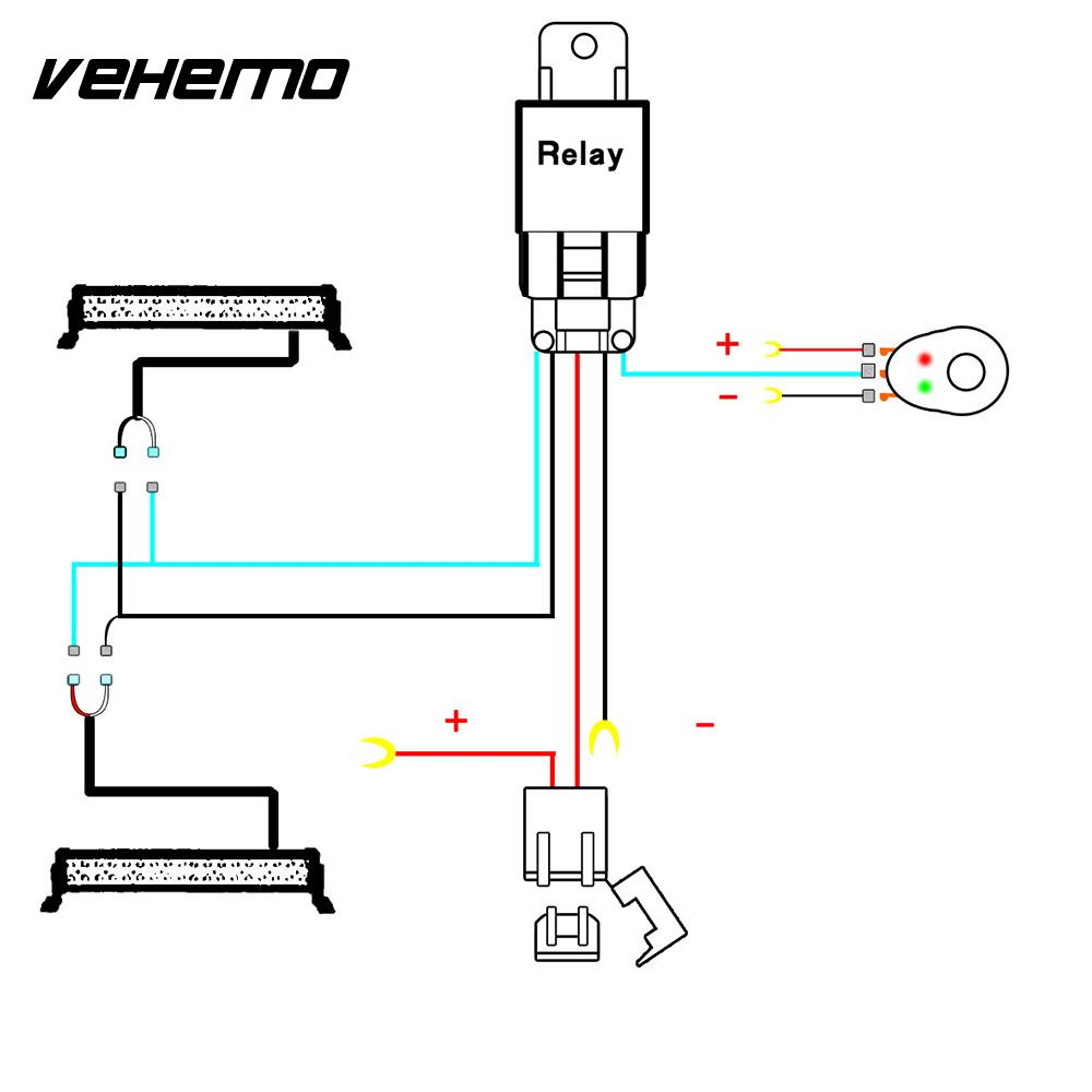 Vehemo Connecting 2 LED Wiring Harness Kit Line Set Fuse Relay Car Tuning for Copper Line Headlight Wiring Professional