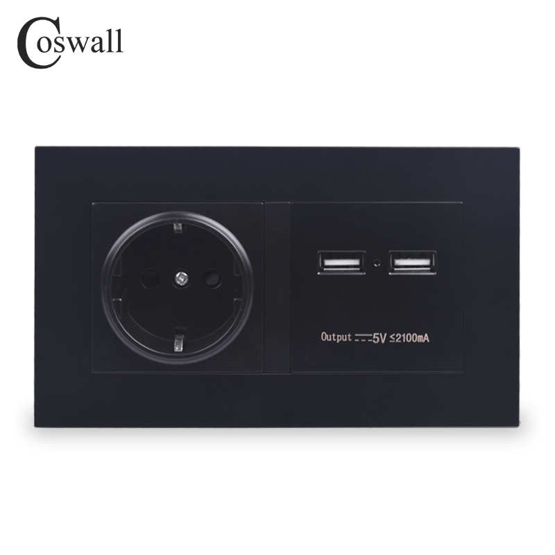 COSWALL Black Wall Socket 16A EU Standard Power Outlet With Dual USB Smart Charger Port For Mobile 5V 2100mA Output PC Panel coswall wall socket uk standard power outlet switched with dual usb charge port for mobile 5v 2 1a output stainless steel panel