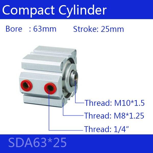 SDA63 * 25 Бесплатная доставка 63 мм Диаметр 25 мм Ход Компактный Цилиндры Воздуха SDA63X25 Двойного Действия Воздуха Пневматический Цилиндр