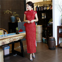 YZ Red Traditional Chinese Style Bride Bridesmaid Dress Women Lace Sexy Mandarin Collar Qipao Vintage Long