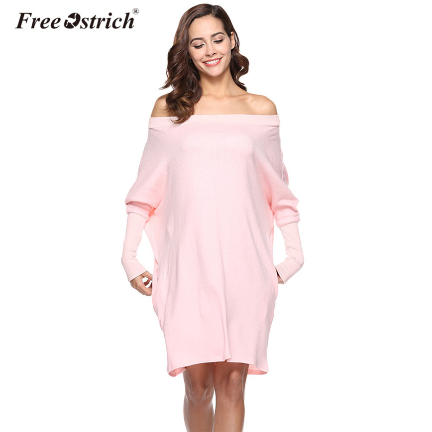 Free Ostrich Autumn Oversized Knitted Sweater Dress Women Batwing Sleeve Slash Neck Pockets Loose Pullovers Pure Color Tops D25 doyerl sweater dress vestidos 2017 autumn women casual o neck knee length pockets oversized loose knitted dress plus size s 3xl