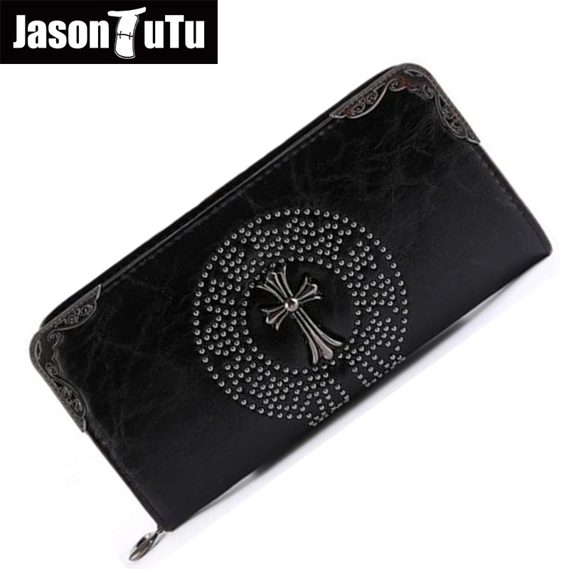 Free shipping Men wallets Male purse Man Long wallet money bag rivet Good quality PU leather phone bag 15-25 days to Moscow B411