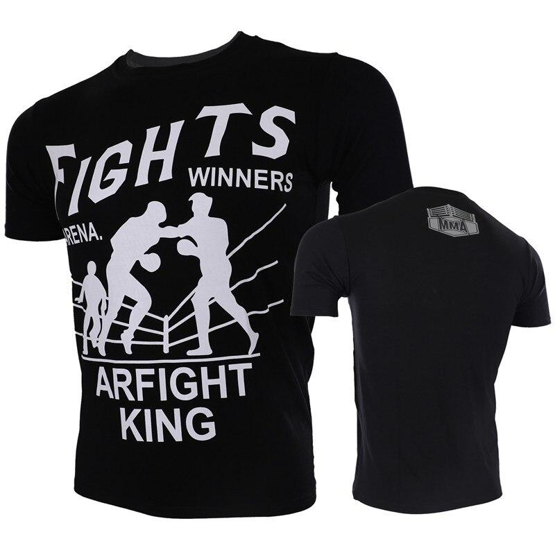 VSZAP Fights Winners Arena Fight King Printed T-Shirt Men MMA Fighting Muay Thai Fitness UFC Sanda Tee Shirt Brand Clothing