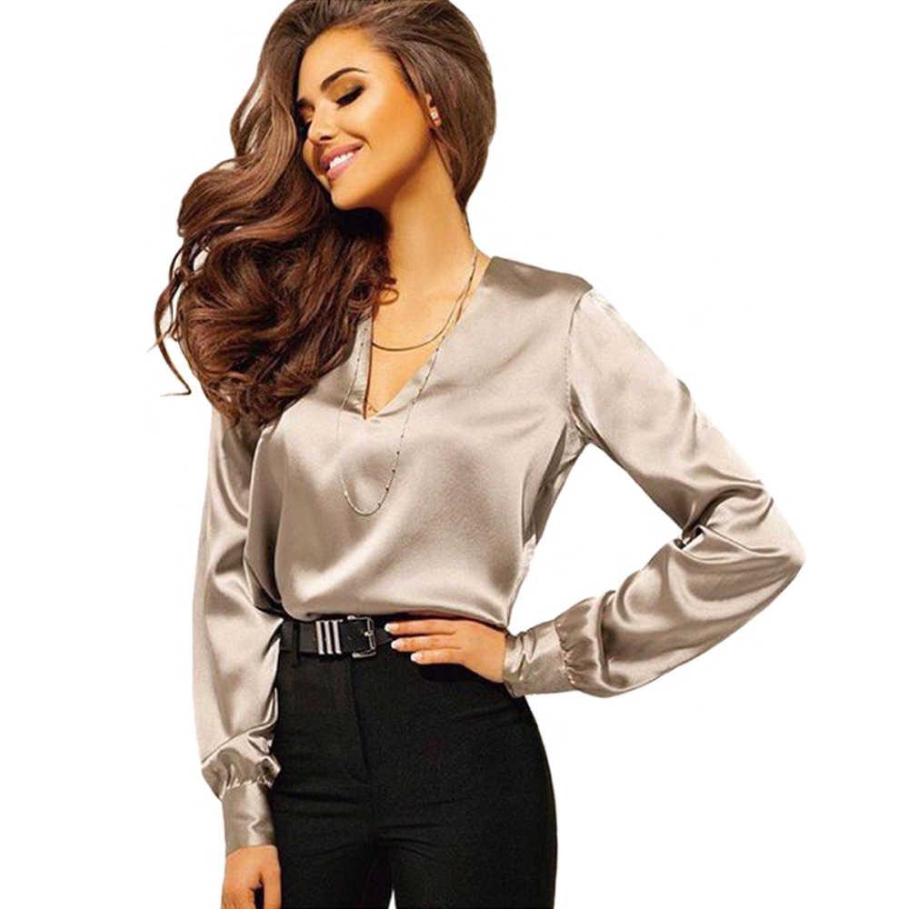 f19811c4363b Blusa de manga larga de seda para mujer Camisas de color rosa gris Blusas y  Blusas para mujer talla grande S-2XL ropa de trabajo OL Blusas mujer de ...