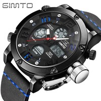 Luxury GIMTO Men Sport Watches Dual Time Waterproof Digital Multi Function Outdoor Army Military Watch Men