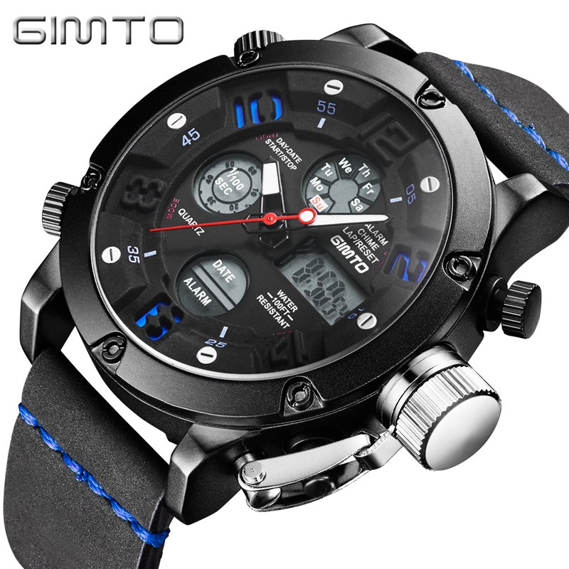 Luxury GIMTO Men Sport Watches Dual Time Waterproof Digital Multi Function Outdoor Army Military Watch Men Swim Quartz Clock