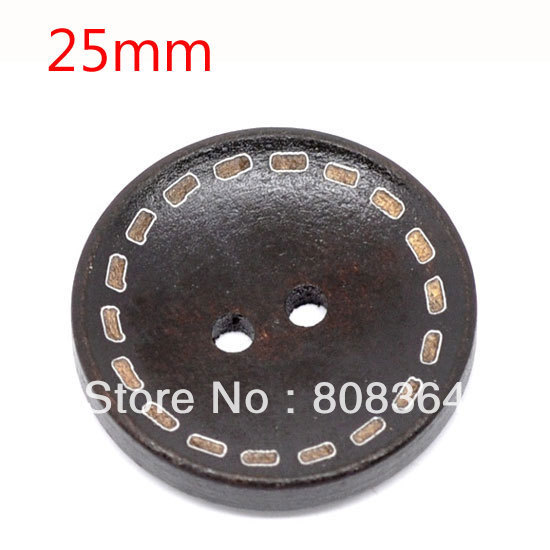 50 Pcs Dotted Line Dark Brown 2 Holes Wood Sewing Buttons Scrapbooking Card Making DIY Home Decor Tools 25mm