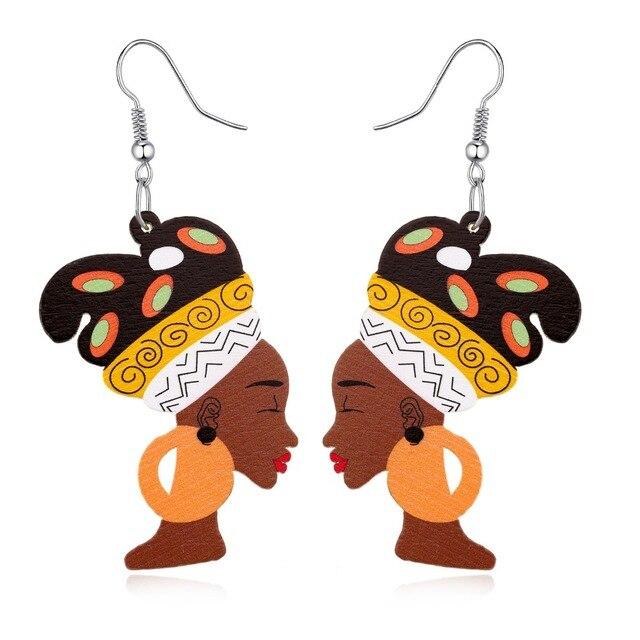 1 Пара Мода Индийской Африка Ювелирные Изделия Деревянные Серьги Красочные Женщины Рисунок Vintage Себе Серьги Женщина Рождественский Подарок E1108