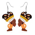 1Pair Fashion Indian Africa Jewelry Wooden Earings Colorful Women Figure Vintage Statement Earrings Woman Christmas Gift E1108