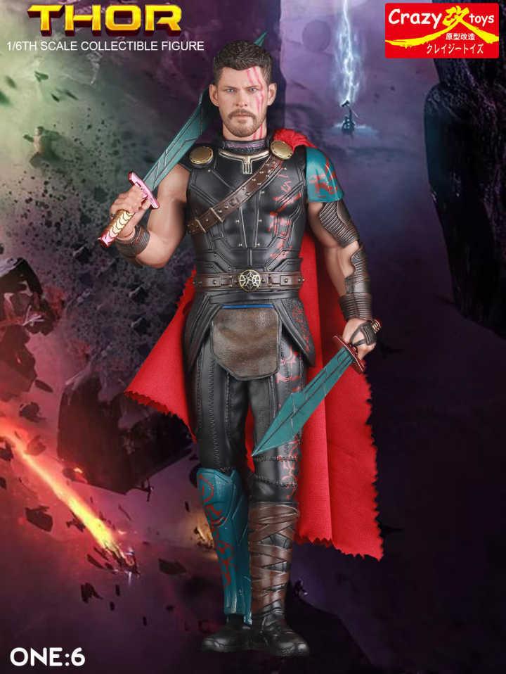 Chiger nouveau Marvel The Avengers jouets fous 1/6 Thor PVC Action Figure avec alliage armure Collection cadeau de jouet de poupée Garçon 18 cm modèle
