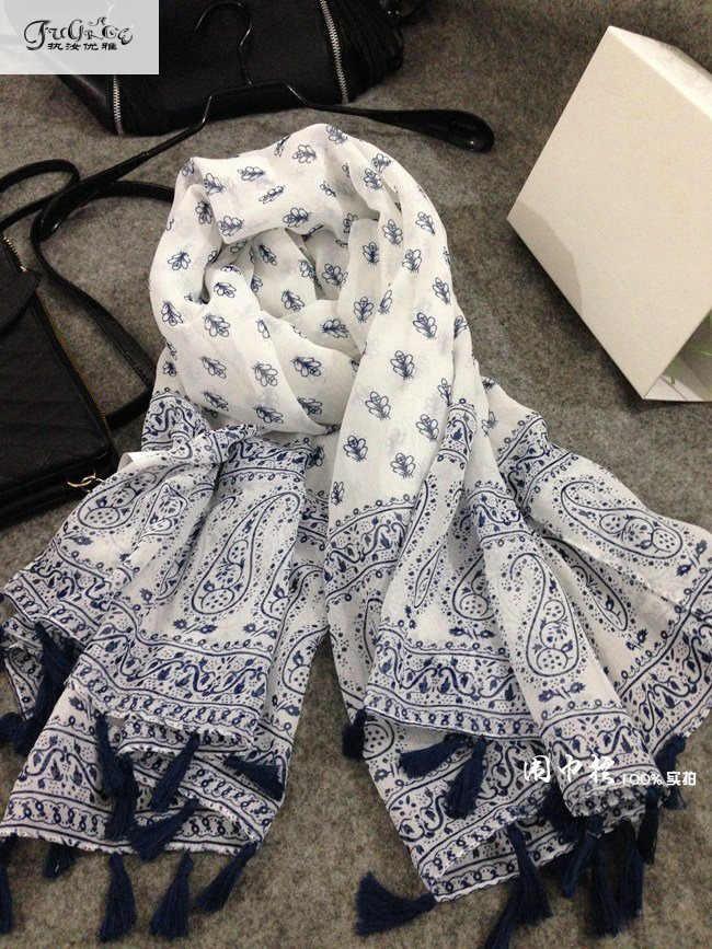 Bufanda de viento nacional de estilo Retro, chal de algodón y lino de abeja pequeña fresca, chal de bufanda de borla, mantillas de toalla de playa
