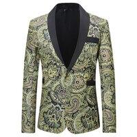 Loldeal Men Shawl Lapel Blazer Designs Velvet Gold Flowers Sequins Suit Jacket DJ Club Stage Singer Clothes