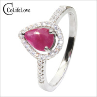 CoLife Jewelry Fashion Ruby Ring for Office Woman 0.6ct Natural Ruby Silver Ring 925 Silver Ruby Jewelry Birthday Gift