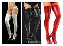 Sexy Latex Wet Look Stockings Women Black PVC Pole Dance Stockings Faux Patent Leather Lady's Clubwear Micro Mini Stocking pair of chic lace edge faux leather stockings for women